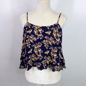 Free people flowy cropped floral top small